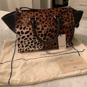 Clare V. Leopard Calf Hair Handbag